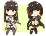 2girls alcohol assault_rifle asymmetrical_legwear bangs black_footwear black_gloves black_hair black_legwear black_shorts black_skirt blonde_hair blush boots bottle brown_eyes brown_shirt chibi closed_eyes closed_mouth collared_shirt commission dress_shirt eyebrows_visible_through_hair eyepatch facing_viewer girls_frontline gloves green_background green_hair green_shirt grey_gloves gun holding holding_gun holding_weapon jack_daniel's kneehighs looking_at_viewer m16a1_(girls_frontline) m4_carbine m4a1_(girls_frontline) multicolored_hair multiple_girls object_hug object_namesake pleated_skirt ribbed_shirt rifle rynzfrancis shirt short_shorts shorts single_kneehigh single_thighhigh skirt sleeveless sleeveless_shirt smile streaked_hair thigh-highs twitter_username two-tone_background watermark weapon white_background
