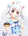 >_< 1girl :q ahoge animal_ear_fluff animal_ears apron bangs bare_shoulders bell blue_ribbon blue_vest blush cat_ears cat_girl cat_hair_ornament cat_tail chocolate_on_fingers closed_mouth clover_hair_ornament collarbone commentary_request eyebrows_visible_through_hair food_on_finger four-leaf_clover_hair_ornament gradient gradient_background grey_background hair_ornament hair_ribbon hairclip happy_birthday heart_ahoge highres holding holding_plate jingle_bell long_hair off-shoulder_shirt off_shoulder original plate puffy_short_sleeves puffy_sleeves red_eyes ribbon shirt short_sleeves silver_hair smile solo sparkle tail tail_bell tail_raised tail_ribbon tongue tongue_out twintails vest waist_apron white_apron white_background white_shirt xiaosamiao