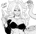 1girl :t android_21 bb_(baalbuddy) big_hair bikini black_sclera blush bracelet carrot cauliflower dark_skin detached_sleeves dragon_ball dragon_ball_super earrings eating fingernails food food_on_face greyscale hand_up highres holding holding_vegetable hoop_earrings jewelry long_hair long_sleeves majin_android_21 monochrome nail_polish prehensile_tail salad simple_background solo sound_effects swimsuit tail white_background