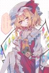1girl ascot between_fingers blonde_hair bow coin crystal english_text expressionless flandre_scarlet frilled_shirt frilled_shirt_collar frilled_skirt frilled_sleeves frills hat hat_ribbon highres key looking_at_viewer mob_cap polka_dot polka_dot_background puffy_short_sleeves puffy_sleeves red_bow red_eyes red_ribbon red_skirt red_vest ribbon shirt short_hair short_sleeves sitting skirt skirt_set touhou umemaro_(siona0908) vest white_shirt wings yellow_neckwear