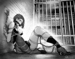 asymmetrical_legwear bdsm bondage bound chain chen_zi dagger fire_emblem fire_emblem:_three_houses gagged high_heels highres monochrome prison restrained rope shamir_nevrand shibari short_hair siting tied_up weapon