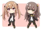 2girls black_bow black_footwear black_gloves black_jacket black_legwear black_ribbon black_skirt blush boots bow brown_background brown_eyes brown_hair chibi closed_mouth commission cross-laced_footwear dress_shirt girls_frontline gloves grin hair_bow hair_ornament hairclip hands_up hood hood_down hooded_jacket index_finger_raised jacket knee_boots lace-up_boots light_brown_hair long_hair long_sleeves looking_at_viewer multiple_girls neck_ribbon one_side_up open_clothes open_jacket pantyhose pleated_skirt ribbon rynzfrancis shirt sidelocks skirt smile standing standing_on_one_leg twintails twitter_username two-tone_background ump45_(girls_frontline) ump9_(girls_frontline) very_long_hair watermark white_background white_shirt