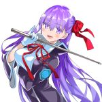 1girl bb_(fate)_(all) bb_(fate/extra_ccc) black_coat breasts coat eyebrows_visible_through_hair fate/extra fate/extra_ccc fate/grand_order fate_(series) gloves hair_ribbon holding holding_wand large_breasts long_hair looking_at_viewer neck_ribbon popped_collar purple_hair red_ribbon ribbon riding_crop robina very_long_hair violet_eyes wand white_gloves
