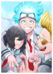 3boys absurdres aizawa_shouta bangs black_hair blonde_hair blue_eyes blue_hair blurry blurry_background boku_no_hero_academia character_request commentary_request eyewear_removed facial_hair frown grin hair_between_eyes highres long_hair long_sleeves messy_hair multiple_boys necktie outdoors red_neckwear smile stubble sunglasses tongue tongue_out translation_request v yamada_hizashi yugaminokuni