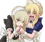 2girls :0 alternate_costume antenna_hair apron artoria_pendragon_(all) bangs black_bow blonde_hair blue_bow blush bow collarbone commentary_request crepe detached_collar eating enmaided eyebrows_visible_through_hair fate/grand_order fate/stay_night fate_(series) food food_theft frill_trim fujitaka_nasu green_eyes grey_hair hair_bow headdress maid maid_headdress multiple_girls open_mouth saber saber_alter short_sleeves simple_background teardrop tearing_up tears white_background yellow_eyes