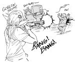 1girl 3boys aiming anger_vein bb_(baalbuddy) blood blood_splatter commentary elf english_commentary english_text firing goblin greyscale gun highres holding holding_gun holding_weapon long_hair monochrome multiple_boys original pointy_ears rioting shirt short_sleeves shotgun simple_background television weapon white_background