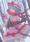 1girl bat_wings blue_hair bow dress fang fat123 frilled_shirt frilled_sleeves frills hat hat_ribbon highres looking_at_viewer looking_back mob_cap pink_dress red_bow red_eyes red_ribbon remilia_scarlet ribbon sash shirt short_hair snow touhou tree wings wrist_cuffs
