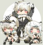 1boy 2girls animal_ears animal_on_shoulder arknights artist_name bangs bird bird_on_shoulder biting black_footwear black_gloves black_pants blush boots braid brother_and_sister cabbie_hat checkered checkered_hat cliffheart_(arknights) closed_eyes dress eyebrows_visible_through_hair full_body fur-trimmed_boots fur_trim gloves grey_background grey_hair hair_between_eyes hands_up hat head_chain highres leopard_ears leopard_tail long_hair looking_at_viewer mismatched_legwear multicolored_hair multiple_girls necktie neross no_nose pants pramanix_(arknights) short_hair siblings silverash_(arknights) single_thighhigh sitting standing streaked_hair tail tail_biting thigh-highs twin_braids two-tone_background white_background white_dress white_hair