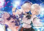 2girls ascot azur_lane belt black_dress black_vest blonde_hair blue_dress blurry braid brooch cable commentary_request concert confetti cross crowd depth_of_field dress dual_persona eyes_visible_through_hair fingerless_gloves french_braid frilled_cuffs frilled_dress frills gloves glowstick hair_over_one_eye hair_ribbon holding holding_microphone jewelry lens_flare maid_headdress microphone microphone_cord miniskirt multiple_girls open_mouth outstretched_hand panties pantyshot pantyshot_(standing) pleated_skirt red_ribbon ribbon sheffield_(azur_lane) sheffield_(muse)_(azur_lane) short_sleeves skirt standing studded_belt thighs ui._(aqua_pot) underwear vest white_gloves white_ribbon wrist_cuffs yellow_eyes