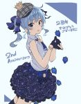 1girl anniversary bangs bare_shoulders belt beret black_gloves blue_belt blue_eyes blue_hair blue_nails blush bow cowboy_shot crown earrings flower food frilled_sleeves frills fruit gloves hands_together hat highres holding holding_flower hololive hoshimachi_suisei jewelry layered_skirt looking_at_viewer medium_hair mini_crown nail_polish open_mouth side_ponytail simple_background sleeveless solo star star_earrings strawberry teshima_nari virtual_youtuber
