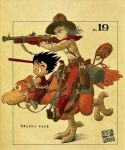 1boy 1girl aiming animal belt bird black_border black_eyes black_hair blanket boots border brown_footwear brown_gloves brown_headwear brown_pants bulma canteen closed_mouth commentary copyright_name cowboy_boots cowboy_hat dougi dragon_ball dragon_ball_(classic) english_commentary eyelashes feathers fingernails floating_hair frown full_body gloves gun handgun happy hat highres holding holding_gun holding_reins holding_weapon knee_boots looking_afar messy_hair neckerchief number official_art outside_border pants pistol red_neckwear reins riding riding_bird running saddle sepia sepia_background serious shaded_face shadow shirt shotgun simple_background sleeves_rolled_up smile son_gokuu standing standing_on_one_leg straight_hair suspenders toriyama_akira watermark weapon white_shirt wristband