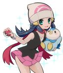 1girl aqua_eyes ball beanie blue_eyes blush breasts chorimokki gen_4_pokemon hair_ornament hat hikari_(pokemon) holding holding_ball holding_poke_ball long_hair open_mouth piplup poke_ball poke_ball_(generic) pokemon pokemon_(creature) pokemon_(game) pokemon_dppt scarf skirt smile solo wind wind_lift winter_clothes