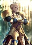 1boy armor artist_name blonde_hair earrings fate/grand_order fate/stay_night fate/strange_fake fate_(series) full_armor gilgamesh gold_armor jewelry kei-suwabe looking_at_viewer male_focus red_eyes short_hair solo