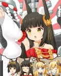 4girls :d ^_^ animal_ear_fluff animal_ears azur_lane bangs bare_shoulders black_hair black_hairband blonde_hair blue_eyes blush bow closed_eyes commentary_request crown cup detached_sleeves dress emphasis_lines eyebrows_visible_through_hair flat_screen_tv fork fox_ears gloves hair_bow hair_ears hair_ornament hairband headgear headpiece holding holding_cup holding_fork japanese_clothes kimono long_hair long_sleeves machinery miicha mini_crown multiple_girls mutsu_(azur_lane) nagato_(azur_lane) open_mouth outstretched_arm queen_elizabeth_(azur_lane) red_dress short_hair sleeveless sleeveless_kimono smile sparkle steam strapless strapless_dress striped striped_hairband sunburst sunburst_background television thought_bubble tilted_headwear twitter_username v-shaped_eyebrows warspite_(azur_lane) white_bow white_gloves white_kimono white_sleeves wide_sleeves yellow_eyes