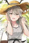 1girl :d absurdres alternate_hairstyle antlers arknights bag bangs bare_shoulders blush breasts chinese_commentary collarbone day deer_antlers deer_girl eyebrows_visible_through_hair firewatch_(arknights) flower grey_eyes grey_hair hair_between_eyes hair_tucking hands_up hat highres holding holding_bag impossible_hat lily_of_the_valley long_hair looking_at_viewer mango_(mgo) open_mouth outdoors sidelocks small_breasts smile solo straw_hat sun_hat tank_top upper_body