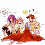 alcohol beer blonde_hair blush brown_hair butz_klauser confused cup drinking_glass faris_scherwiz final_fantasy final_fantasy_v krile_mayer_baldesion lenna_charlotte_tycoon moogle pink_hair purple_hair saito_piyoko sleepy smile wine wine_glass