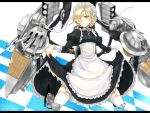 1girl apron azur_lane azure_luna black_dress blonde_hair boots braid bustier chain check_commentary checkered checkered_background closed_mouth collar commentary commentary_request dress eyelashes french_braid frilled_dress frills full_body garter_straps hair_over_one_eye hair_ribbon high_heel_boots high_heels highres invisible_floor juliet_sleeves knee_boots kneeling letterboxed lifted_by_self long_sleeves looking_at_viewer maid maid_apron maid_headdress metal_boots metal_collar poleyn puffy_sleeves ribbon rigging sabaton sheffield_(azur_lane) skirt skirt_lift solo thigh-highs tsurime turret white_legwear white_ribbon wrist_cuffs yellow_eyes