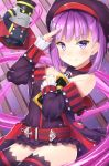 1girl bangs bare_shoulders black_legwear blush breasts commentary_request covered_navel detached_sleeves eyebrows_visible_through_hair fate/grand_order fate_(series) hat helena_blavatsky_(fate/grand_order) highres hiyoko_(kokeko) looking_at_viewer purple_hair short_hair small_breasts smile solo strapless thigh-highs violet_eyes