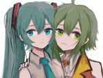 2girls amulet aqua_eyes aqua_hair aqua_neckwear bare_shoulders collar commentary forehead-to-forehead gomiyama green_eyes green_hair grey_shirt gumi hair_ornament hand_on_another's_shoulder hatsune_miku highres jacket long_hair multiple_girls necktie orange_jacket parted_lips portrait shirt short_hair side-by-side sidelocks twintails vocaloid white_background white_collar