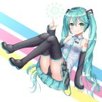 1girl absurdres aqua_eyes aqua_hair black_panties boots happycloud hatsune_miku highres panties striped thigh-highs thigh_boots twintails underwear vocaloid