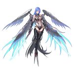 1girl bare_shoulders blue_hair blue_wings breasts claws detached_sleeves energy_sword highleg highres holding holding_sword holding_weapon large_breasts long_hair mecha_musume multiple_wings navel punishing:_gray_raven see-through simple_background skindentation solo sword tattoo tsuki_no_i-min weapon wings