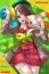 1girl bag bangs blush brown_eyes brown_hair cardigan commentary_request copyright_name dress eyebrows_visible_through_hair gen_8_pokemon green_headwear grey_cardigan grookey hat highres holding holding_pokemon jacket long_sleeves looking_at_viewer lying on_back open_mouth pink_dress pokemon pokemon_(creature) pokemon_(game) pokemon_swsh scorbunny short_hair smile sobble tam_o'_shanter tenpai upper_teeth yuuri_(pokemon)