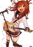 1girl absurdres arms_up bangs black_legwear black_sailor_collar black_skirt blush brown_hair eyebrows_visible_through_hair folded_ponytail guitar hair_between_eyes highres holding holding_instrument inazuma_(kantai_collection) instrument kaamin_(mariarose753) kantai_collection long_sleeves microphone microphone_stand open_mouth pleated_skirt ponytail sailor_collar school_uniform serafuku simple_background skirt solo thigh-highs white_background yellow_eyes yellow_neckwear