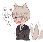 1boy animal_ears artist_name blue_eyes choker dog_boy dog_ears dog_tail ear_twitch fang hn_(artist) nier_(series) nier_automata open_mouth skin_fang smile solo tail tail_wagging white_hair yorha_no._9_type_s