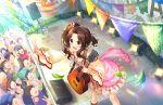 ariura_kanna blush brown_eyes brown_hair dress guitar idolmaster_cinderella_girls_starlight_stage long_hair smile