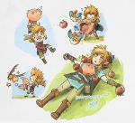 1boy apple bettykwong blonde_hair blue_eyes blue_shirt boots cloak cucco flying food fruit keese kirby link lying nintendo on_back shirt smile star the_legend_of_zelda the_legend_of_zelda:_breath_of_the_wild
