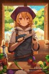 1girl alex_(dragalia_lost) apron artist_name bangs black_apron blonde_hair bottle brown_eyes carrot commentary cucumber cutting_board day dragalia_lost english_commentary eyebrows_visible_through_hair food fruit hair_between_eyes hentaki highres holding holding_knife hood hood_down hoodie indoors knife lemon pot short_sleeves solo spring_onion standing tomato upper_body watermark web_address white_hoodie