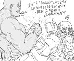 2boys bald bb_(baalbuddy) beard biceps dwarf earrings english_text facial_hair fang fang_out greyscale handshake highres jewelry monochrome multiple_boys muscle orc original pointy_ears scabbard scar scar_across_eye sheath simple_background sword war_hammer weapon white_background