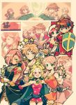 1boy 3girls armor beads blonde_hair brown_hair butz_klauser earrings faris_scherwiz final_fantasy final_fantasy_v galuf_halm_baldesion jewelry knife knight_(final_fantasy) krile_mayer_baldesion lenna_charlotte_tycoon md5_mismatch multiple_girls pink_hair purple_hair saito_piyoko shield spikes star sword weapon white_mage