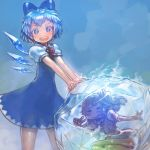 (9) 2girls blue_background blue_bow blue_dress blue_eyes blue_hair blue_nails blue_wings bow cirno commentary_request daiyousei dress frozen hair_bow highres ice ice_wings looking_at_viewer multiple_girls nail_polish one_side_up open_mouth pointy_ears puffy_short_sleeves puffy_sleeves short_hair short_sleeves skirt smile standing touhou v vest wings yst
