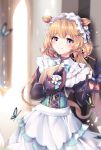 1girl animal animal_ears apron backlighting bangs black_gloves black_shirt blonde_hair blue_eyes blurry blurry_background blush bug butterfly closed_mouth commentary_request deer_ears depth_of_field door eli_conifer eyebrows_visible_through_hair glint gloves hair_ornament hair_ribbon highres holding holding_tray indoors insect lens_flare long_hair long_sleeves low_twintails nijisanji open_door petals pink_ribbon puffy_long_sleeves puffy_sleeves ribbon shirt smile solo tray twintails very_long_hair virtual_youtuber waist_apron white_apron xes_(xes_5377)