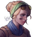 1girl alternate_costume aviator_sunglasses blonde_hair blue_eyes commentary english_commentary eyebrows eyebrows_visible_through_hair eyewear_on_head facepaint green_hairband hair_bun hairband highres lips looking_at_viewer nose portrait rainbow_six_siege scarf short_hair signature solo suisui_again sunglasses twitter_username updo valkyrie_(rainbow_six_siege) white_background