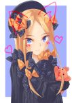 1girl abigail_williams_(fate/grand_order) absurdres animal_ears bangs black_bow black_headwear blonde_hair blue_eyes blush bow cat_ears commentary_request dress fake_animal_ears fate/grand_order fate_(series) forehead hair_bow hat highres kao_kao long_hair long_sleeves looking_at_viewer object_hug orange_bow parted_bangs polka_dot polka_dot_bow simple_background sleeves_past_fingers sleeves_past_wrists smile solo stuffed_animal stuffed_toy tagme teddy_bear very_long_hair whisker_markings