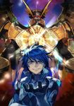 1boy blue_eyes blue_hair chest_cannon cobray_gordon dis_astranagant evil_smile hankuri male_focus mecha open_hand smile spacesuit super_robot_wars the_3rd_super_robot_wars_alpha