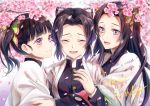 3girls absurdres animal_print bangs black_hair blunt_bangs blush branch breasts butterfly_hair_ornament butterfly_print cherry_blossoms closed_eyes closed_mouth commentary crying english_text eyebrows_visible_through_hair eyelashes forehead gakuran gradient_hair hair_ornament haori happy_birthday highres hug huge_filesize japanese_clothes kimetsu_no_yaiba kochou_kanae kochou_shinobu long_hair long_sleeves looking_at_another medium_breasts medium_hair multicolored_hair multiple_girls open_mouth parted_bangs petals pink_eyes purple_hair sayaka_(ponkichi) school_uniform short_hair siblings side_ponytail sisters smile tears tsuyuri_kanao two-tone_hair uniform upper_body violet_eyes