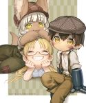 1boy 1girl 1other :3 absurdres blonde_hair brown_hair closed_eyes ears_through_headwear english_commentary facial_mark glasses grin hands_on_own_cheeks hands_on_own_face highres horizontal_pupils lying made_in_abyss mechanical_arms nanachi_(made_in_abyss) on_stomach pants pocketbee regu_(made_in_abyss) riko_(made_in_abyss) sitting smile suspenders twintails white_hair yellow_eyes