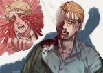 blonde_hair blood blood_on_face bloody_clothes blue_eyes crying death dying facial_hair facial_mark facial_scar hair_pulled_back hair_slicked_back injury jacket nelldya porco_galliard reiner_braun scar shingeki_no_kyojin short_hair signature smile smoke spoilers
