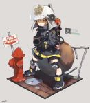 1girl absurdres aiming_at_viewer animal_ears_helmet arknights black_shorts boots brown_eyes brown_hair chin_strap fire_extinguisher fire_helmet fire_hydrant fire_jacket firefighter full_body grey_background highres huge_filesize knee_pads legs_apart looking_at_viewer open_mouth puddle shaw_(arknights) short_hair shorts sign signature simple_background solo squirrel_girl squirrel_tail standing status_bar tail v-shaped_eyebrows yossui