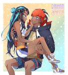 1boy 1girl :d bangs bare_legs bare_shoulders belly_chain black_hair black_jacket blue_background blue_eyes blue_eyeshadow blue_hair blue_shirt blue_shorts blush breasts carrying character_name closed_mouth collared_shirt commentary_request couple cowboy_shot crossed_legs dark_skin dark_skinned_male drawstring earrings eyeliner eyeshadow full_body groin gym_leader hair_bun hairlocs hand_on_another's_cheek hand_on_another's_face headband hetero hood hood_down hooded_jacket hoop_earrings jacket jewelry kibana_(pokemon) korean_commentary long_hair long_sleeves looking_at_another makeup medium_breasts midriff mixed-language_commentary multicolored_hair necklace open_mouth orange_background orange_headwear pokemon pokemon_(game) pokemon_swsh princess_carry rurina_(pokemon) sandals shipsaam shirt shorts sidelocks sitting sitting_on_lap sitting_on_person smile sportswear stud_earrings sweatdrop swimsuit tankini two-tone_background two-tone_hair