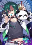 1other absurdres ahoge androgynous black_choker black_nails black_shirt bubble_tea candy choker citron_82 collarbone commentary drinking_straw earrings food green_hair green_jacket hair_between_eyes highres holding huge_filesize jacket jewelry multicolored multicolored_clothes multicolored_jacket nijisanji pants purple_jacket ryuushen shirt short_hair solo stuffed_animal stuffed_toy teddy_bear tongue tongue_out violet_eyes virtual_youtuber white_jacket