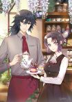 1boy 1girl apron bangs black_hair black_skirt blue_eyes bug butterfly butterfly_hair_ornament closed_mouth collared_shirt ekdantkfkd eyebrows_visible_through_hair flower gradient_hair grey_shirt hair_between_eyes hair_ornament highres holding holding_plate indoors insect kimetsu_no_yaiba kochou_shinobu long_hair long_skirt long_sleeves looking_at_viewer multicolored_hair necktie plate ponytail red_apron red_neckwear shiny shiny_hair shirt short_hair short_necktie skirt smile snake standing tomioka_giyuu violet_eyes waist_apron white_shirt wing_collar wisteria