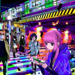 4boys 5girls ace_akira black_hair blue_eyes braid bridge car cellphone city crosswalk glasses ground_vehicle holding holding_phone hood hood_down kaf kamitsubaki_studio long_hair low_tied_hair mask motor_vehicle mouth_mask multiple_boys multiple_girls night phone pink_hair pixel_art red_eyes smartphone surgical_mask tied_hair train upper_body virtual_kaf virtual_youtuber yellow_eyes