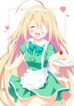 1girl :d ^_^ ahoge apron bangs blonde_hair blurry blurry_background blush bow breasts cake closed_eyes collared_dress commentary_request depth_of_field dress eyebrows_visible_through_hair eyepatch facing_viewer food fork frilled_apron frills fruit green_bow green_dress hair_between_eyes hairband heart highres holding holding_plate long_hair medical_eyepatch open_mouth original plate puffy_short_sleeves puffy_sleeves short_sleeves skindentation slice_of_cake small_breasts smile solo strawberry taira_takehiro thigh-highs upper_teeth very_long_hair waist_apron white_apron white_hairband white_legwear