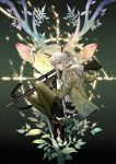 1girl animal animal_background antlers arknights awer bangs belt_pouch black_skirt bow_(weapon) crossbow crosshair firewatch_(arknights) from_side full_body gloves grey_hair hair_between_eyes highres holding holding_weapon hood hood_down hoodie long_hair long_sleeves looking_at_viewer looking_to_the_side open_clothes open_hoodie pantyhose pouch profile reindeer reindeer_antlers reindeer_girl scowl shoes sidelocks skirt tree_branch v-shaped_eyebrows weapon
