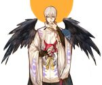 1boy absurdres black_wings blue_eyes copyright_request covering_mouth cowboy_shot fan feathered_wings grey_hair hair_between_eyes hakama hand_over_own_mouth hand_up highres japanese_clothes long_sleeves looking_at_viewer male_focus onmyoji paper_fan parted_lips ribbon rosette_(yankaixuan) smile solo standing white_background wide_sleeves wings yellow_ribbon