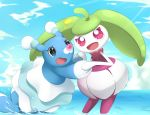 :d black_eyes blue_sky brionne clouds cloudy_sky commentary_request creature day fang gen_7_pokemon highres no_humans open_mouth outdoors pokemon pokemon_(creature) sky smile steenee violet_eyes water yomitrooper